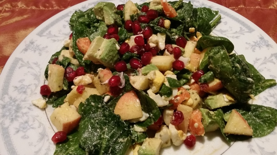 Spinach Egg Salad withPomegranate